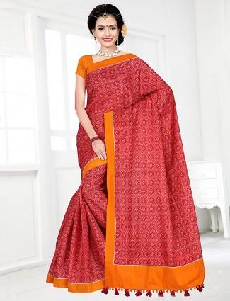 Red hue cotton festive saree