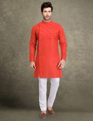 Red hue cotton festive wear kurta suit