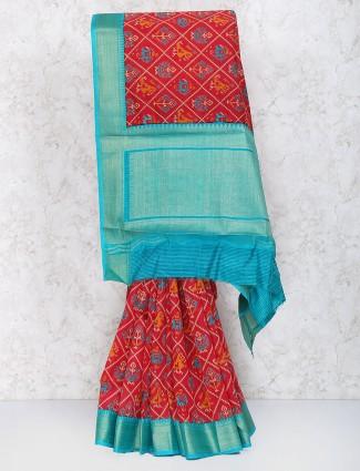 Red hue cotton silk festive saree