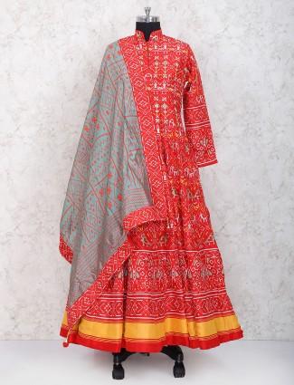 Red hue cotton silk floor length anarkali suit
