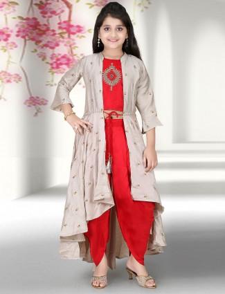 Red hue party wear punjabi dhoti suit