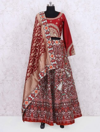 Red hue patola silk fabric wedding lehenga choli
