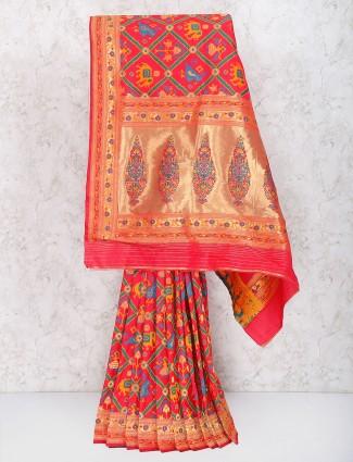 Red hue semi silk patola saree