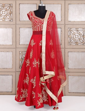 Red hue silk designer anarkali suit