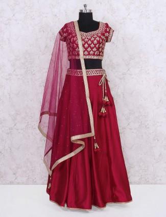 Red hue silk fabric lehnega choli for wedding wear