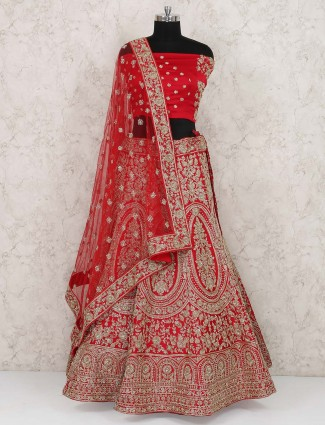 Red hue silk wedding lehenga choli