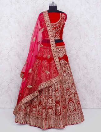 Red hue velvet bridal semi stitched lehenga choli