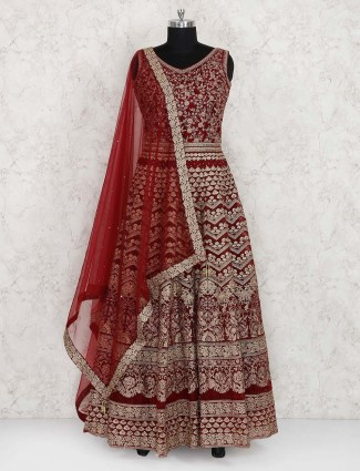 Red hue wedding function anarkali suit