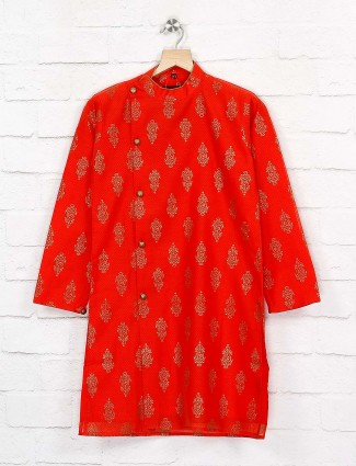 Red hue wedding function cotton kurta suit