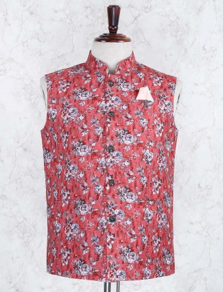 Red hue wedding wear printed waistcoat