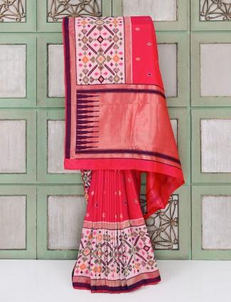 Red hyderabadi patola cotton silk festive saree