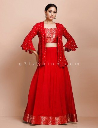 Red jacket and lehenga set in georgette for wedding