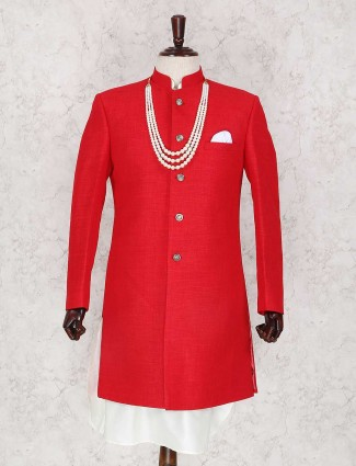 Red jute wedding wear indo western