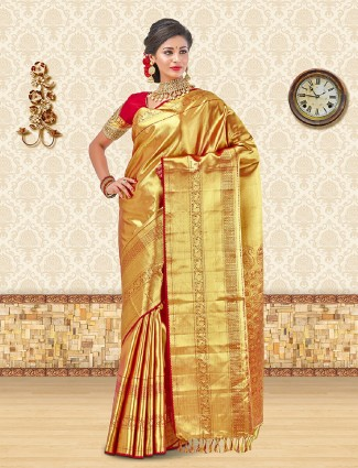 Red kanchipuram silk bridal wear saree