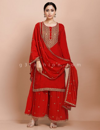 Red kurti and palazzo set for wedding in raw silk