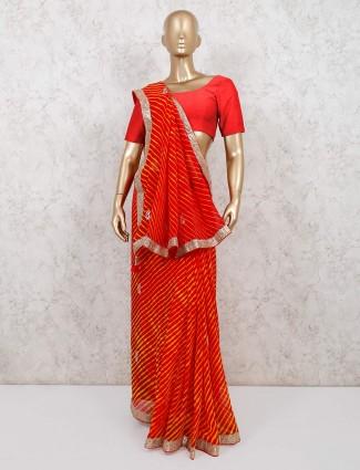 Red leheriya style georgette festive wear saree