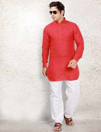 Red linen pathani suit