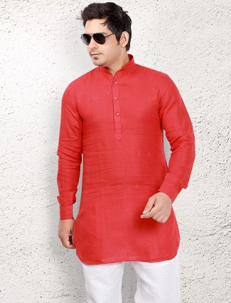Red linen short pathani
