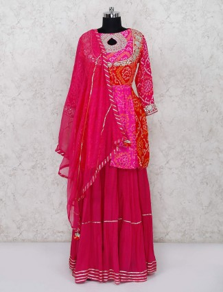 Red magenta bandhni sharara suit in cotton