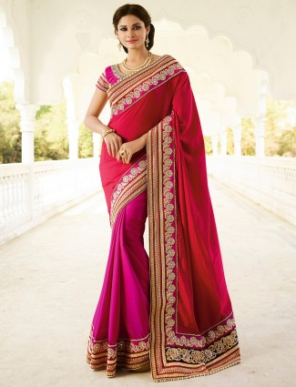 Red magenta georgette half and half saree