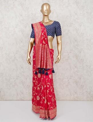 Red muga silk saree