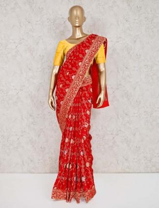 Red muga silk wedding function saree