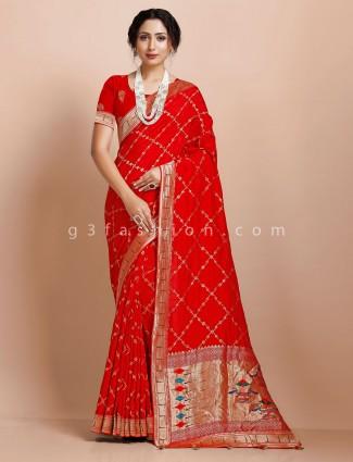 Red muga silk wedding occasion saree