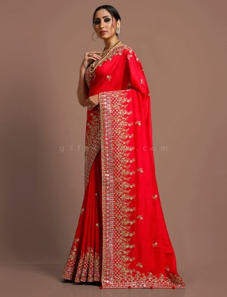 Red muga silk reception function saree