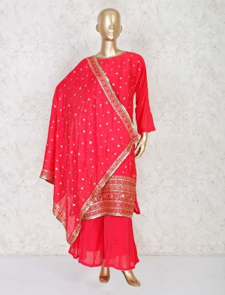 Red palazzo set in cotton silk for wedding function