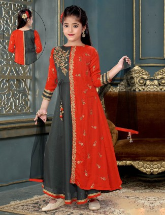 Red party wear anarkali suit for girls