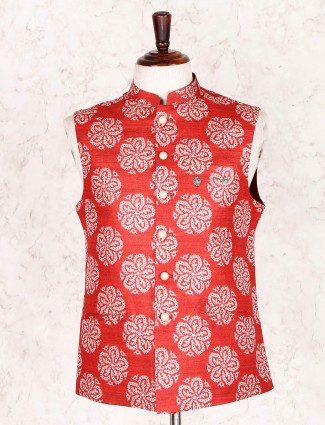 Red party wear mens cotton silk waistcoat