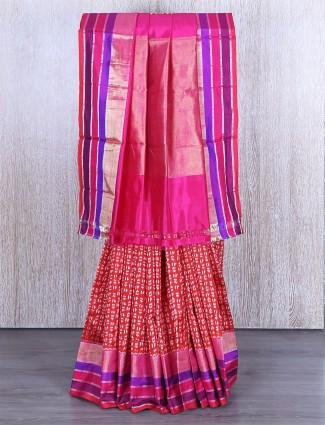 Red patola silk printed saree