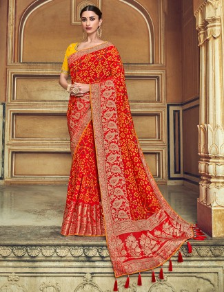 Red patola silk printed saree for wedding