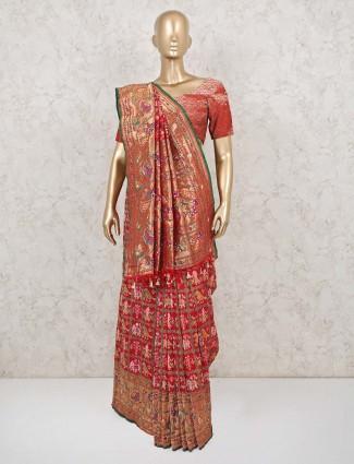 Red patola silk saree design for wedding