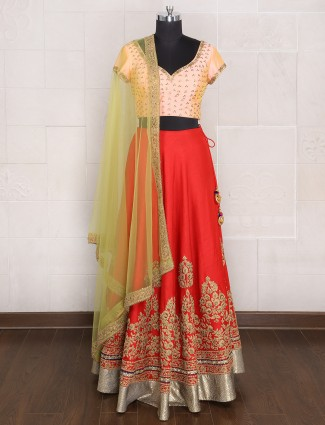 Red peach silk lehenga choli for bride