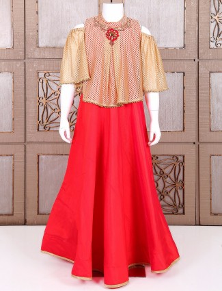 Red plain cape style anarkali suit in one piece