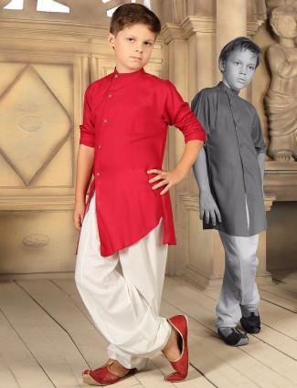 Red plain cotton kurta suit