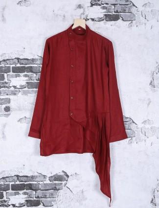 Red plain designer festive wear kurta suit
