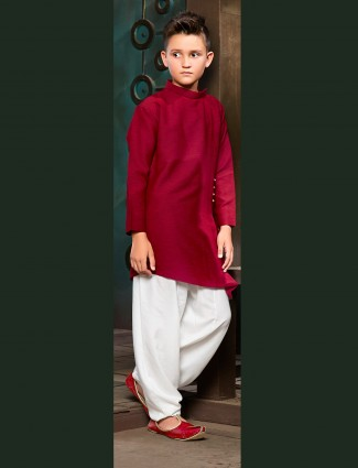 Red plain pathani suit