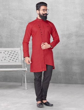 Red plain silk kurta suit for festive fuction