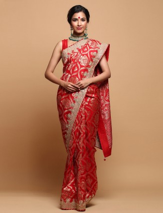 Red pretty tussar silk saree for wedding