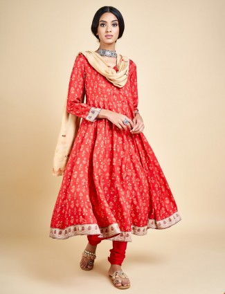 Red printed churidar salwar suit in cotton