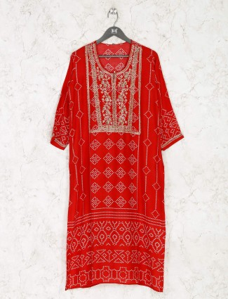 Red printed cotton kurti for festive occassion