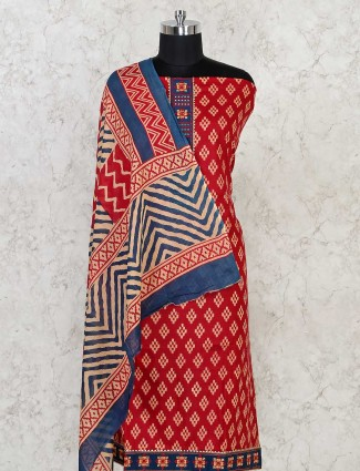 Red Printed dress material in cotton