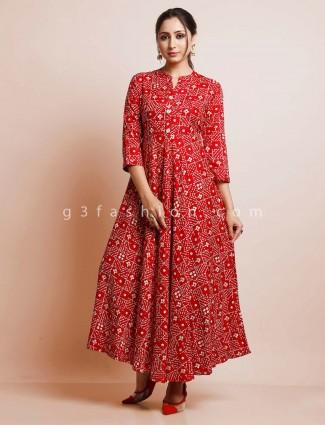 Red printed festive wear kurti