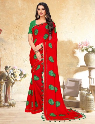 Red printed georgette saree for women