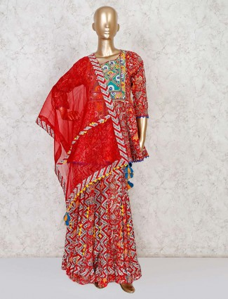 Red printed kurti with sharara for wedding in cotton