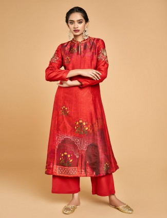 Red printed palazzo suit design in cotton silk
