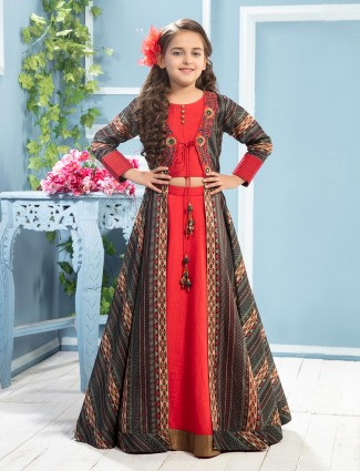 Red printed raw silk jacket style lehenga choli