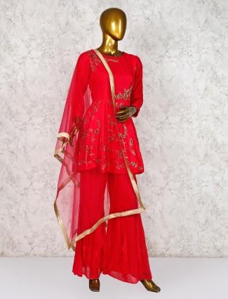 Red punjabi sharara suit in cotton silk